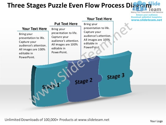 Three Stages Puzzle Even Flow Process Diagram                                                     Your Text Here          ...
