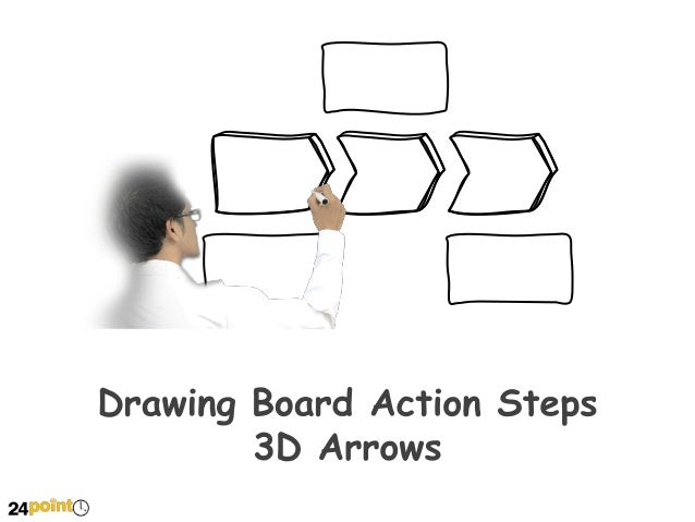 Drawing Board Action Steps 3D Arrows - PowerPoint Slides