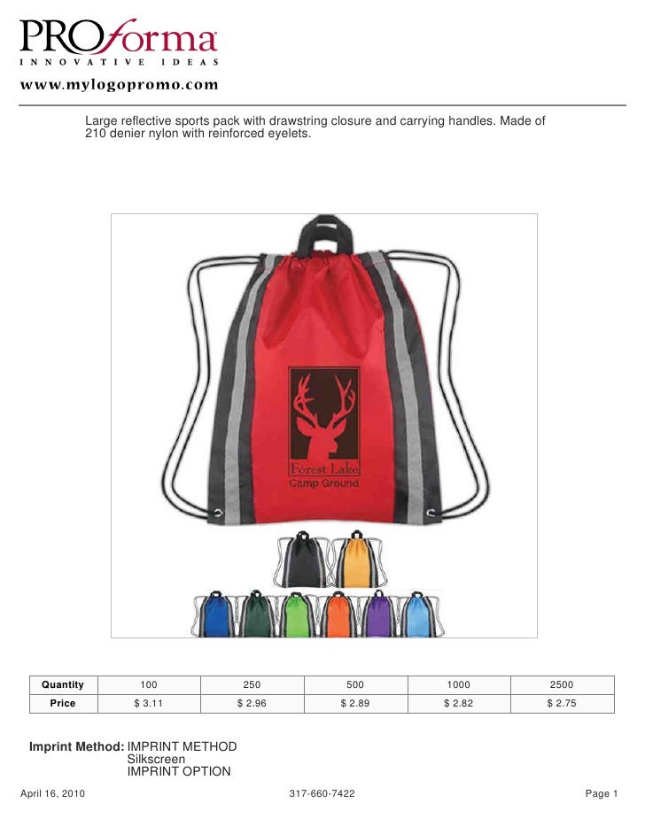 Large reflective sports pack with drawstring closure and carrying handles. Made of                210 denier nylon with re...