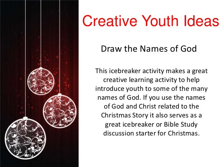 Creative Youth Ideas  Draw the Names of God This icebreaker activity makes a great    creative learning activity to help i...