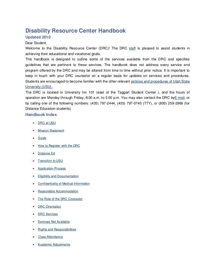 DRC policy & procedure handbook