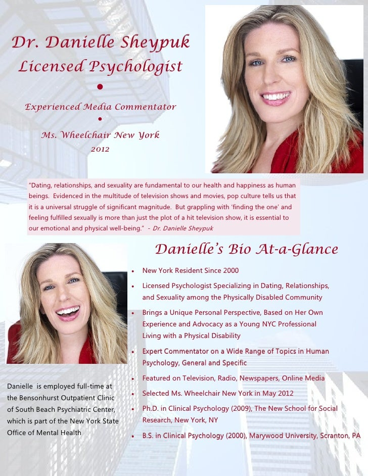 Dr. Danielle Sheypuk   Licensed Psychologist                               ●     Experienced Media Commentator            ...