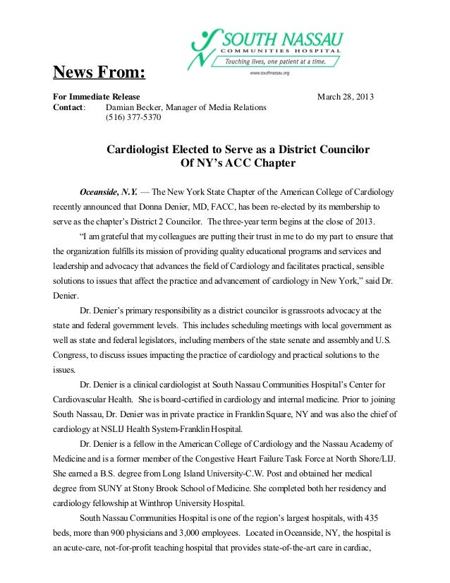 News From:For Immediate Release                                                           March 28, 2013Contact:    Damian...