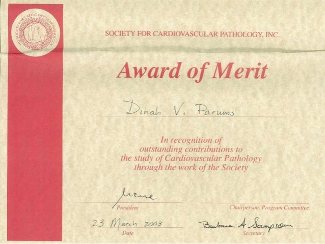Dr Dinah Parums, March 2003, Certificate of Merit, Society for Cardiovascular Pathology