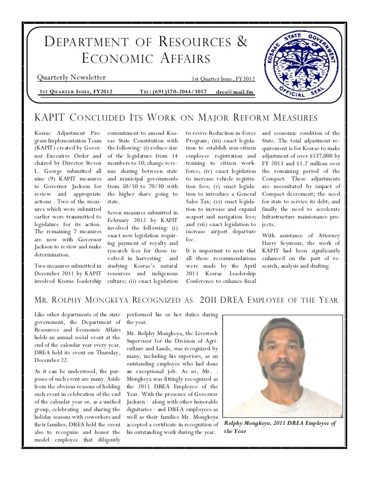 D EPARTMENT OF R ESOURCES &          E CONOMIC A FFAIRS Quarterly Newsletter                                             1...