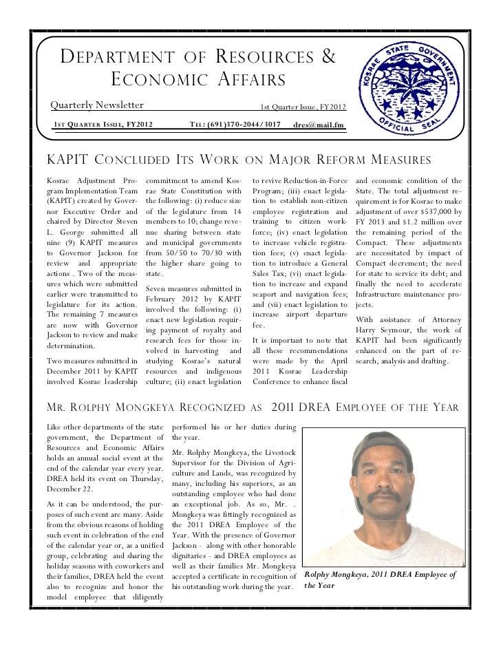 DREA 1st Quarter Newsletter