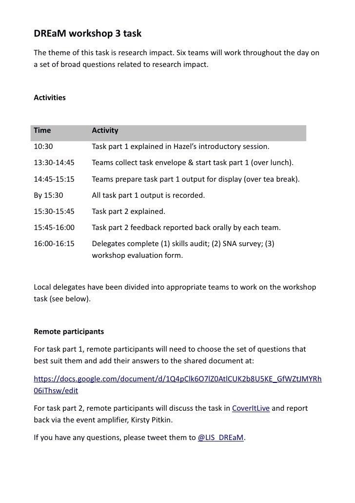 DREaM4 Workshop Task Timetable