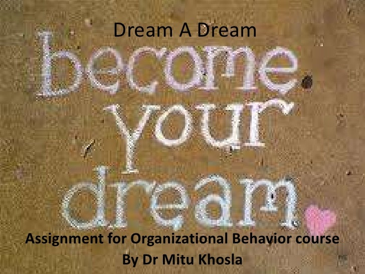 Dream A Dream <br />Assignment for Organizational Behavior course <br />By Dr MituKhosla<br />