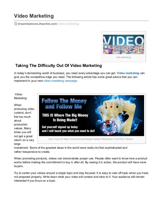 Video Marketing Get in Front of 5 Major Trends that have Already Created 3 Millionaires in The Past 7 Months! Video Market...