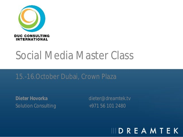 Dreamtek DUC Consulting Social Media Master Class
