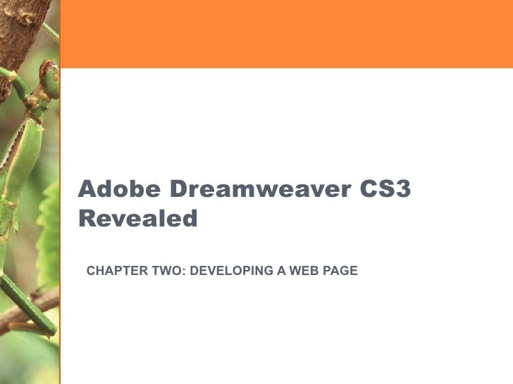 Adobe Dreamweaver CS3 Revealed CHAPTER TWO: DEVELOPING A WEB PAGE