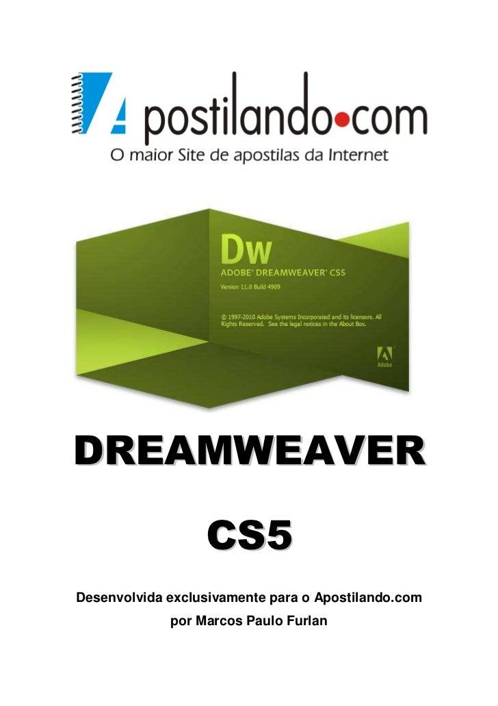DREAMWEAVER                  CS5Desenvolvida exclusivamente para o Apostilando.com             por Marcos Paulo Furlan