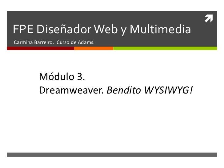 FPE Diseñador Web y Multimedia<br />Carmina Barreiro. Curso de Adams.<br />Módulo 1. <br />Teoría. Planificar y entender. ...