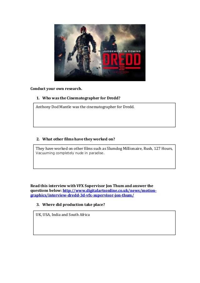 Dredd worksheet