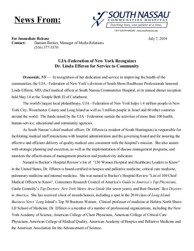 For Immediate Release July 7, 2014 Contact: Damian Becker, Manager of Media Relations (516) 377-5370 UJA-Federation of New...