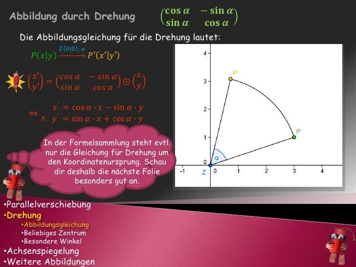 In der Formelsammlung steht evtl. nur die Gleichung für Drehung um den Koordinatenursprung. Schau dir deshalb die nächste ...