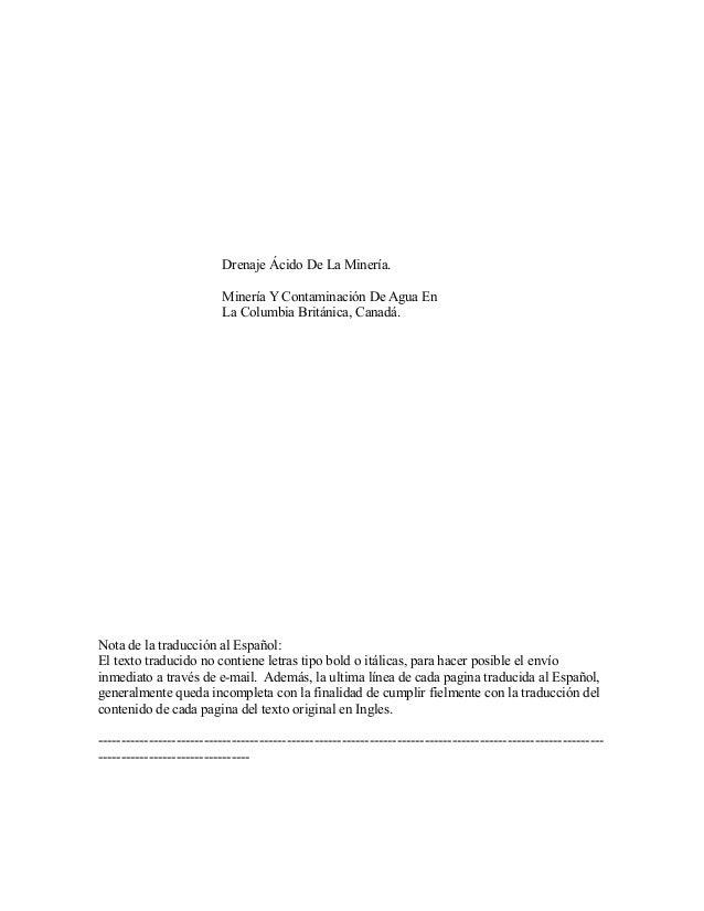 Drenaje Ácido De La Minería. Minería Y Contaminación De Agua En La Columbia Británica, Canadá. Nota de la traducción al Es...