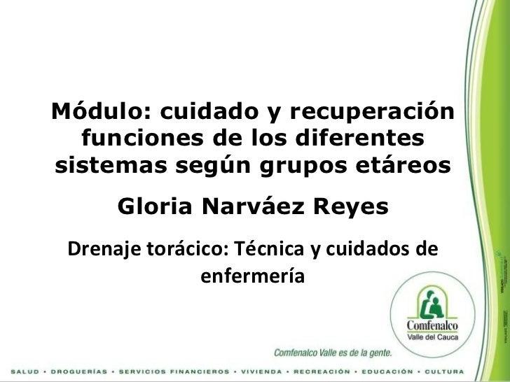 Módulo: cuidado y recuperación  funciones de los diferentessistemas según grupos etáreos      Gloria Narváez Reyes Drenaje...