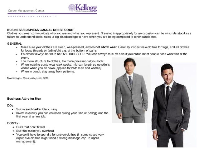 BUSINESS/BUSINESS CASUAL DRESS CODEClothes you wear communicate who you are and what you represent. Dressing inappropriate...