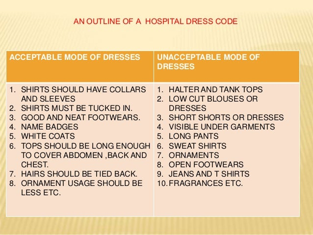 Policy dress codes for workplaces