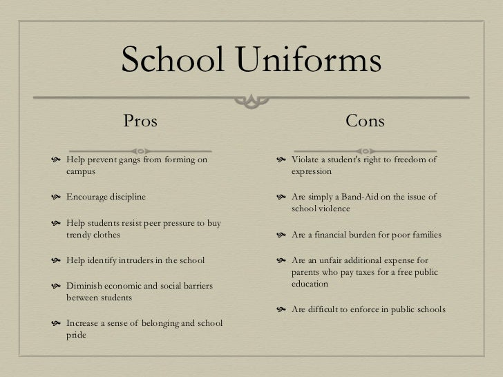 essays about school uniforms with the pros You might hate your school uniform, but i think it's there for good reason, says 15- year-old chloe spencer.
