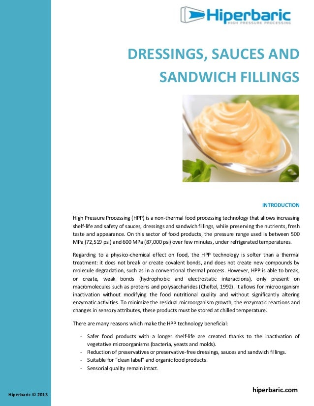 Pascalisation of dressings sauces and fillings (whitepaper HPP, Hiperbaric)
