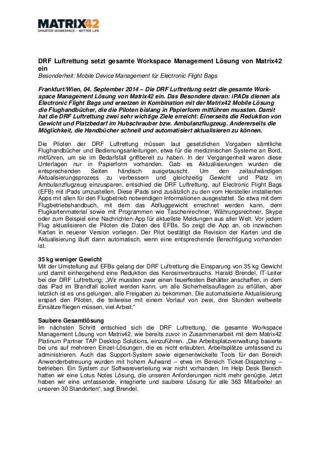 DRF Luftrettung setzt gesamte Workspace Management Lösung von Matrix42 ein  Besonderheit: Mobile Device Management für Ele...