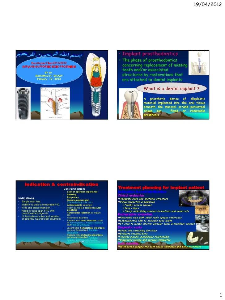 19/04/2012                                                                                  • Implant prosthodontics :    ...