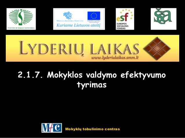 Mokyklų tobulinimo centras 2.1.7. Mokyklos valdymo efektyvumo tyrimas
