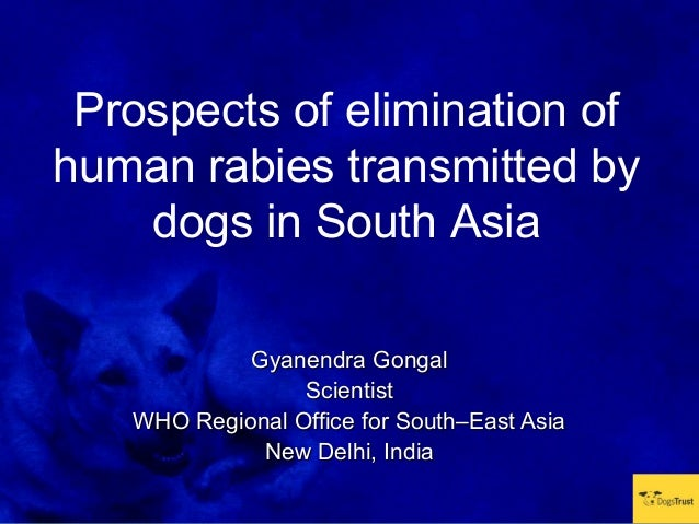 Prospects of elimination ofhuman rabies transmitted by    dogs in South Asia            Gyanendra Gongal                 S...