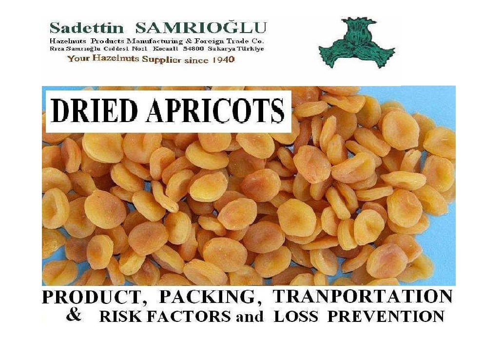 Apricots, dried General:  Product information  Packaging  Transport   Container transport   Cargo securing   Risk factors ...
