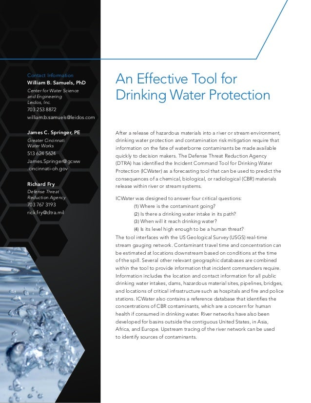 An Effective Tool for Drinking Water Protection