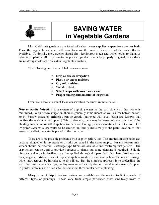 Saving Water in Vegetable Gardens - University of California