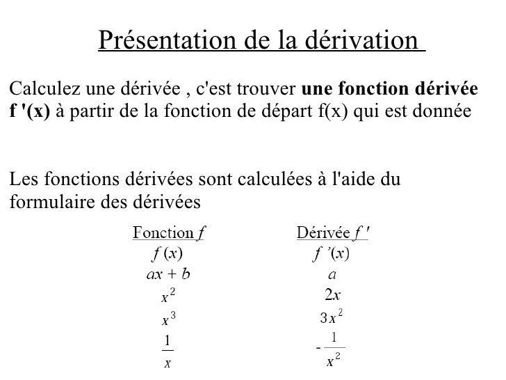 Présentation de la dérivation  Calculez une dérivée , c'est trouver  une fonction dérivée  f '(x)  à partir de la fonction...