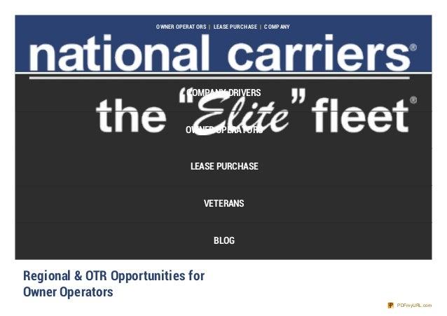 OWNER OPERAT ORS   LEASE PURCHASE   COMPANY COMPANY DRIVERS OWNER OPERATORS LEASE PURCHASE VETERANS BLOG Regional & OTR Op...