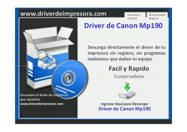 Descargar Driver de Impresora Canon Mp190