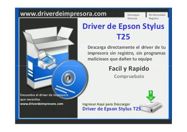 Descargar Driver de Impresora Epson Stylus T25