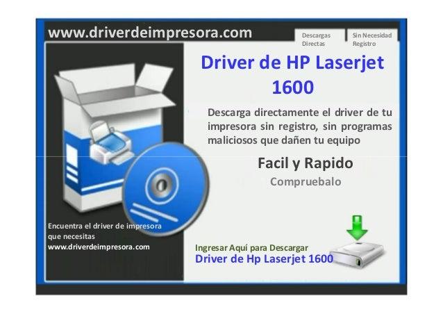 Descargar Driver de Impresora HP Laserjet 1600
