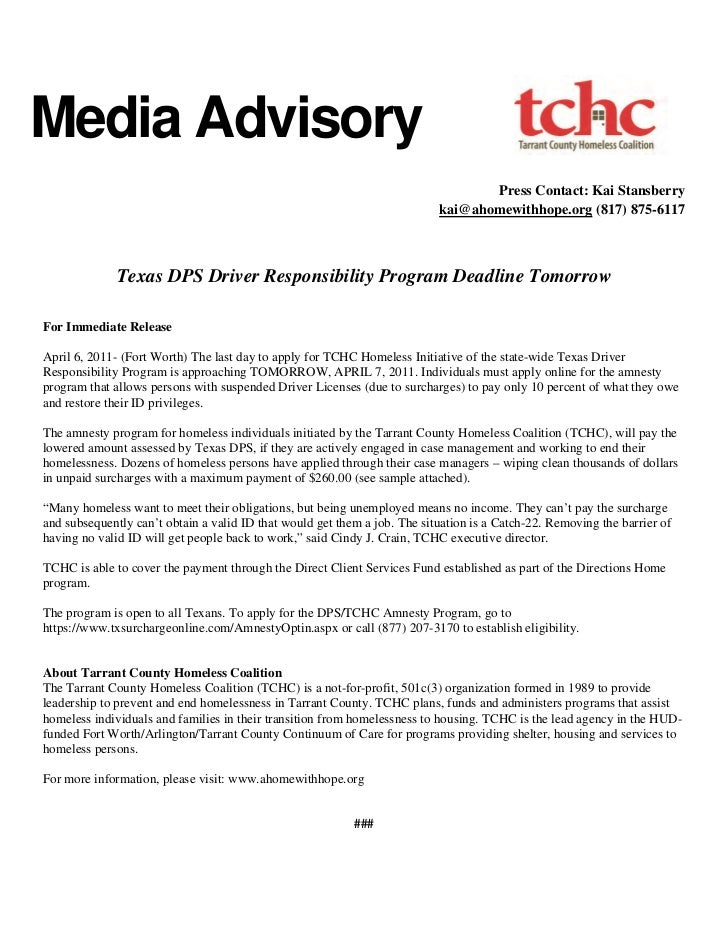 Driver responsibility amnesty   press release