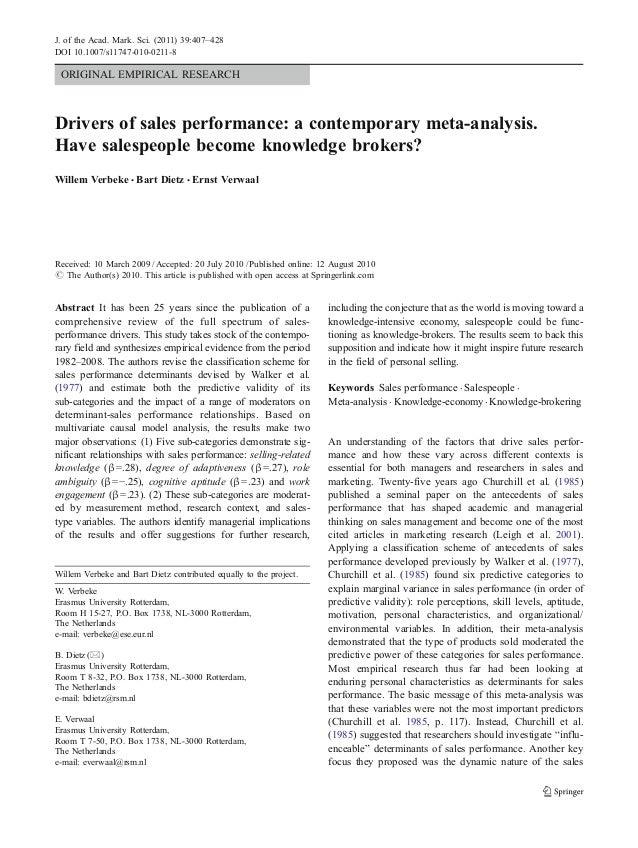 Key drivers of sales performance | Professional Capital