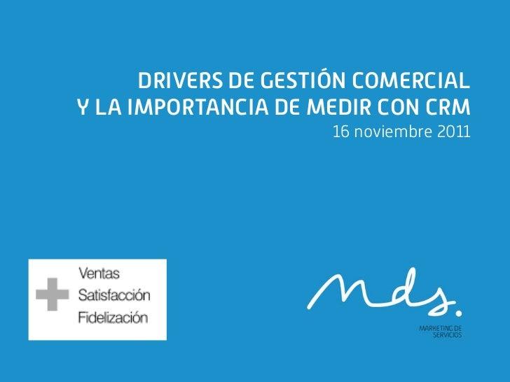 DRIVERS DE GESTIÓN COMERCIALY LA IMPORTANCIA DE MEDIR CON CRM                      16 noviembre 2011