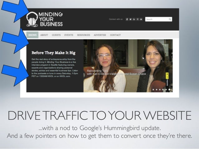DRIVE TRAFFIC TO YOUR WEBSITE ...with a nod to Google's Hummingbird update. And a few pointers on how to get them to conve...