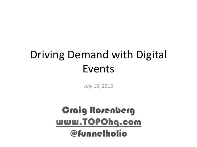 Driving Demand with Digital Events July 10, 2013 Craig Rosenberg www.TOPOhq.com @funnelholic