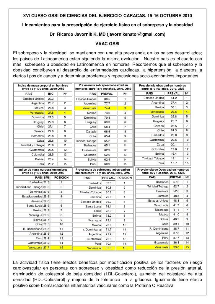 XVI CURSO GSSI DE CIENCIAS DEL EJERCICIO-CARACAS. 15-16 OCTUBRE 2010     Lineamientos para la prescripción de ejercicio fí...