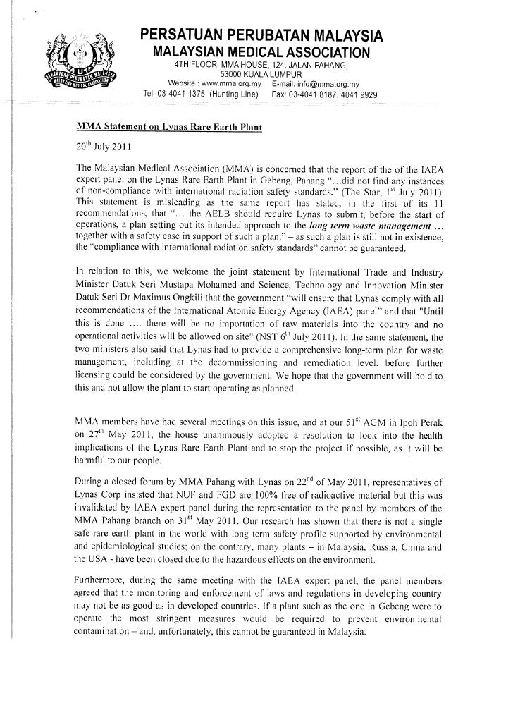 MMA Statement on Dr. Jeyakumar