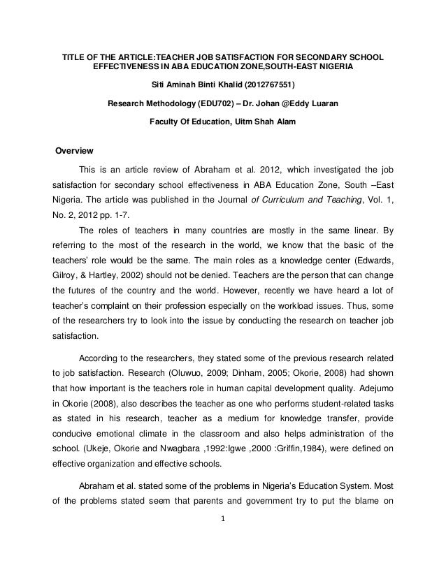 Secondary Education write research article