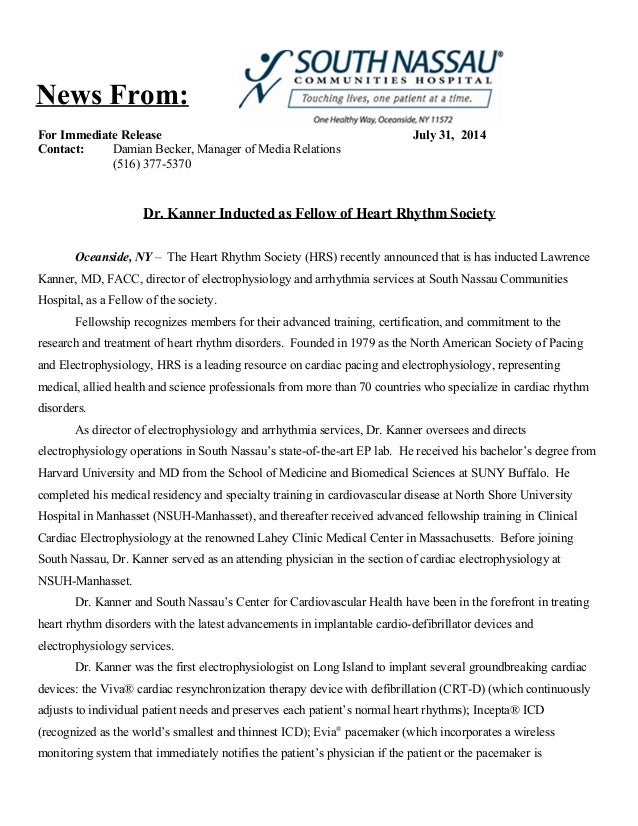 For Immediate Release July 31, 2014 Contact: Damian Becker, Manager of Media Relations (516) 377-5370 Dr. Kanner Inducted ...