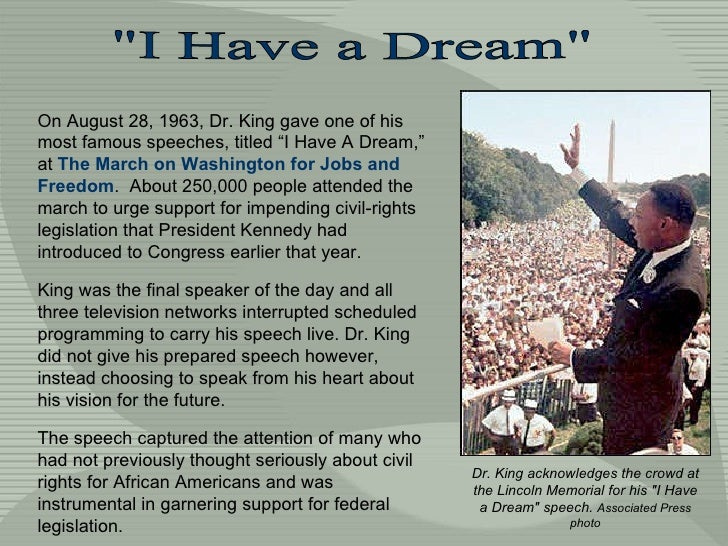 i have a dream speech in written form A dream of freedom by diane mcwhorter is a well written and comprehensive documentation of the civil rights movement told by a white southern woman of privilege who grew up in the era using this resource, students may want to create a timeline as they read, either individually or as a class.