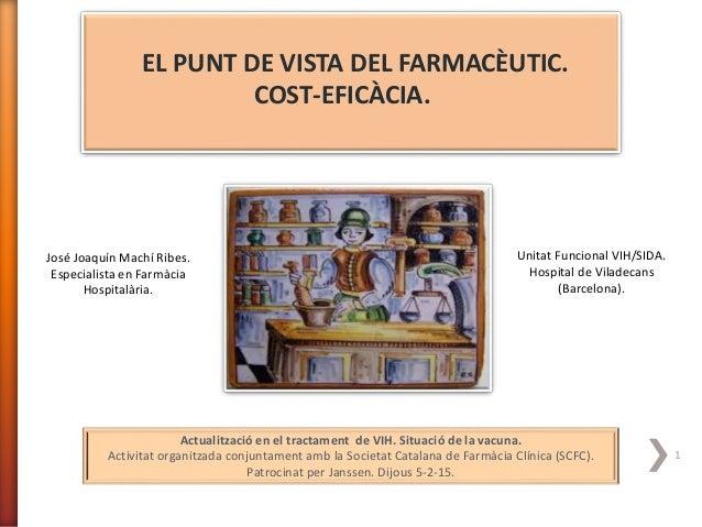 EL PUNT DE VISTA DEL FARMACÈUTIC. COST-EFICÀCIA. José Joaquín Machí Ribes. Especialista en Farmàcia Hospitalària. Unitat F...