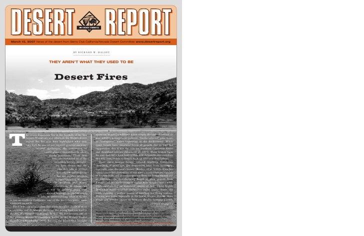March 15, 2007 News of the desert from Sierra Club California/Nevada Desert Committee www.desertreport.org                ...